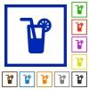 Longdrink framed flat icons - Set of color square framed longdrink flat icons