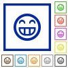 Laughing emoticon framed flat icons - Set of color square framed laughing emoticon flat icons