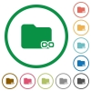 Linked folder outlined flat icons - Set of linked folder color round outlined flat icons on white background