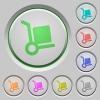 Parcel delivery push buttons - Set of color parcel delivery sunk push buttons.
