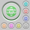 WWW globe push buttons - Set of color WWW globe sunk push buttons.