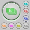 Pound banknotes push buttons - Set of color Pound banknotes sunk push buttons.