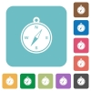 Flat compass icons - Flat compass icons on rounded square color backgrounds.
