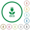 Eco energy outlined flat icons - Set of eco energy color round outlined flat icons on white background