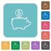 Flat Dollar piggy bank icons - Flat Dollar piggy bank icons on rounded square color backgrounds.