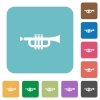 Flat trumpet icons - Flat trumpet icons on rounded square color backgrounds.