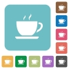 Flat coffee icons - Flat coffee icons on rounded square color backgrounds.