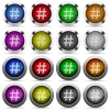 Hashtag glossy button set - Set of hashtag glossy web buttons. Arranged layer structure.