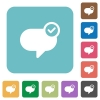 Flat message sent icons - Flat message sent icons on rounded square color backgrounds.