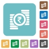 Flat indian Rupee coins icons - Flat indian Rupee coins icons on rounded square color backgrounds.