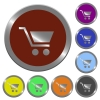 Color empty shopping cart buttons - Set of color glossy coin-like empty shopping cart buttons