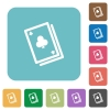 Flat card game icons - Flat card game icons on rounded square color backgrounds.