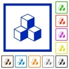 Cubes framed flat icons - Set of color square framed cubes flat icons