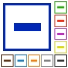 Set of color square framed remove flat icons - Remove framed flat icons