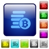 Color Bitcoins square buttons - Set of Bitcoins color glass rounded square buttons
