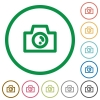 Camera outlined flat icons - Set of camera color round outlined flat icons on white background