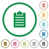 Notes outlined flat icons - Set of notes color round outlined flat icons on white background