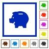 Piggy bank framed flat icons - Set of color square framed piggy bank flat icons