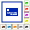 Member card framed flat icons - Set of color square framed member card flat icons
