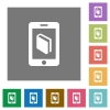 E-book square flat icons - E-book flat icon set on color square background.