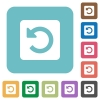 Flat rotate left icons - Flat rotate left icons on rounded square color backgrounds.