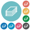 Flat printing papers icons - Flat printing papers icon set on round color background.