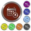 Color calendar alarm buttons - Set of color glossy coin-like calendar alarm buttons