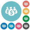 Flat money bags icons - Flat money bags icon set on round color background.