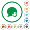 Blog comment time outlined flat icons - Set of blog comment time color round outlined flat icons on white background