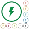 Flash outlined flat icons - Set of flash color round outlined flat icons on white background