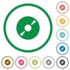 DVD disc outlined flat icons - Set of DVD disc color round outlined flat icons on white background