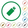 Pendrive outlined flat icons - Set of pendrive color round outlined flat icons on white background