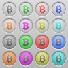 Set of Bitcoin sign plastic sunk spherical buttons. - Bitcoin sign plastic sunk buttons