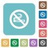 Flat no smoking icons - Flat no smoking icons on rounded square color backgrounds.