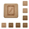 Smartphone memo wooden buttons - Set of carved wooden smartphone memo buttons in 8 variations.