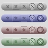 Tools icons on menu bars - Tools icons on rounded horizontal menu bars in different colors and button styles
