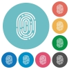 Flat fingerprint icons - Flat fingerprint icon set on round color background.