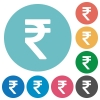 Flat Indian Rupee sign icons - Flat Indian Rupee sign icon set on round color background.