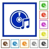 Audio CD framed flat icons - Set of color square framed Audio CD flat icons