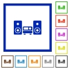 Stereo system framed flat icons - Set of color square framed stereo system flat icons