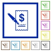 Cheque signing framed flat icons - Set of color square framed cheque signing flat icons