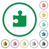 Set of puzzle color round outlined flat icons on white background - Puzzle outlined flat icons