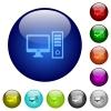 Color desktop computer glass buttons - Set of color desktop computer glass web buttons.