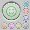 Smiling emoticon push buttons - Set of color smiling emoticon sunk push buttons.