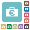 Flat Euro bag icons - Flat Euro bag icons on rounded square color backgrounds.