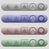 Download icons on menu bars - Download icons on rounded horizontal menu bars in different colors and button styles