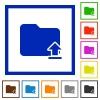 Upload folder framed flat icons - Set of color square framed upload folder flat icons