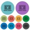 Color laptop with yen sign flat icons - Color laptop with yen sign flat icon set on round background.