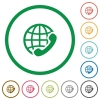 International call outlined flat icons - Set of international call color round outlined flat icons on white background