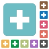 Flat insert icons on rounded square color backgrounds. - Flat insert icons